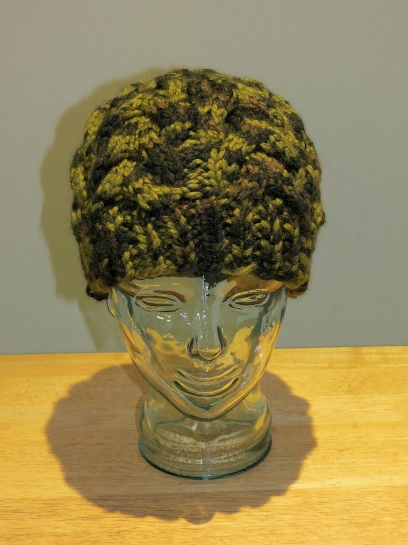 Hand Knit Cable Beanie Hat Jungle