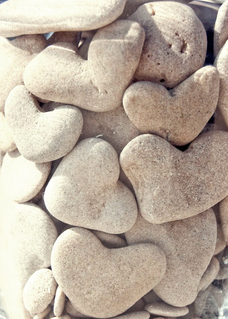 Heart shaped stones collected from the shore of the Mediterranean Sea - a beautiful keepsake for yourself or for the perfect gift of love. #heartshape #heartstones #valentinesday