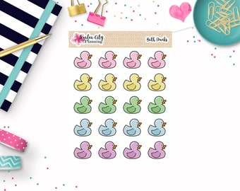 Pastel Duck Stickers - Rubber Duck Stickers - Bath Time Duck Stickers