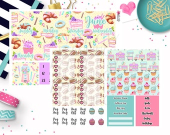 Sweet Shop Monthly Layout Stickers - Monthly View Stickers - Monthly Planner Sticker Kit
