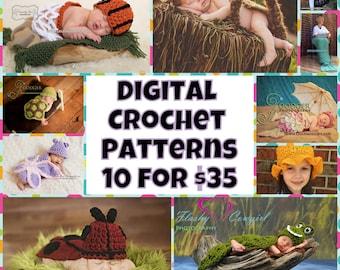 Crochet Pattern Bundle - 10 for 35.00 - digital PDF Files (not finished items)