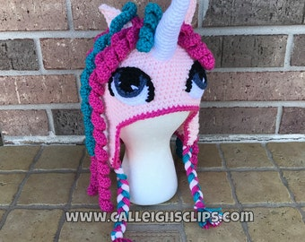 Unicorn Earflap Hat - Pink