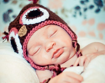 Owl Earflap Hat - Brown and Rose sizes baby, toddler, kid