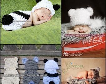 Instant Download Crochet Pattern - Basic Bear - Cuddle Critter Cape - Newborn photography prop