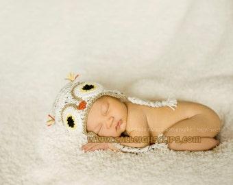 Snow Tweed Owl Earflap Hat - baby, toddler, kids sizes