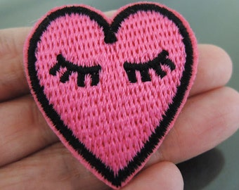 Iron on Patch - Heart Patch Pink Heart Love with Eye Eyelash Patches Small Iron on Applique Embroidered Patch Sewing Patch