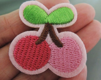 Cherry Patches - Iron on Patches or Sewing on Patch Small Pink Patches Embroidered Patch Cherry Fruit Embellishment
