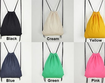 Drawstring Backpack Bag - Backpack Cloth Bag Black Cream Yellow Blue Green or Pink Plain Fabric Bag Drawstring Bags