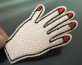 Iron on Patch - Finger Patch Feminist Five Finger with Red Nail Hand Patches Fingernail Hand Patch Applique Embroidered Patch Sewing Patch