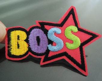 BOSS Letter Patches - Iron on or Sewing on Patch BOSS with Star Patch Embellishments Embroidery fonts