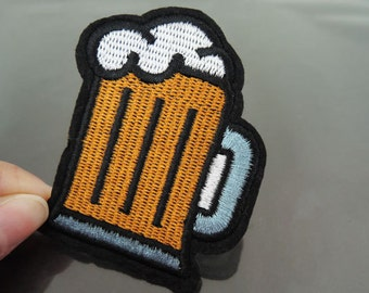 Iron on Patch - Beer Mug Patch Celebrate Beer Festival Patches Iron on Applique Embroidered Patch Drink Sewing Patch
