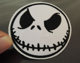Black and White Face Patches - Iron on Patches or Sewing on Patch Skull Patches Embroidered Patch Round Halloween Face Embellishment