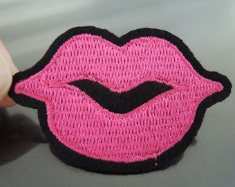 Iron on Patch - Fuchsia Pink Lip Patch Sexy Mouth Patches Tongue Iron on Applique Embroidered Patch Sew On Patch