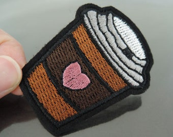 Hot Cup Patches - Iron on Patch or Sewing on Patch Food Drink Patch Brown Coffee Chocolate Cup with Pink Heart Patch Sewing Patch