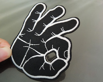 Iron on Patch - OK Patches Okay Hand Sign Finger Iron on Applique embroidered patch Black OK Hand Sign Sew On Patch