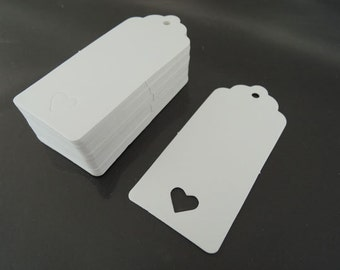 White Paper Tags 50pcs White Tags Heart Round Tag Price Tags Hang Tags Gift Tags White Tag Plain Tags with Hole 6.5cm x 6cm