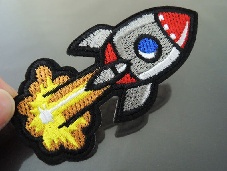 Rocket Patches Spacer Projectile patch Applique embroidered patch Sewing Patch Iron On Patch