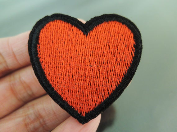 Red Diamond Heart Iron Sew on Embroidered Patch applique UK Seller