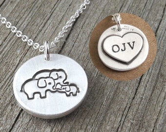Personalized Small Elephant Family of Three Necklace, Mom, Dad, Baby, Heart Monogram, Fine Silver, Sterling Silver Chain, Made To Order
