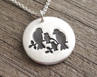 Bird Family of Four Necklace, Two Children, Mom, Dad, Two Babies, New Family Necklace, Fine Silver, Sterling Silver Chain, Made To Order