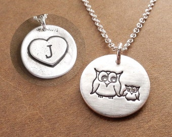 Mom and Two Kids Fine Silver Sterling Silver Chain Mother Owl with Two Babies Necklace Two Children Jewelry Made To Order