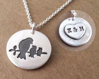 Personalized Mother and Two Baby Birds Necklace, New Mom Necklace, Two Children Jewelry, Fine Silver, Sterling Silver Chain, Made To Order