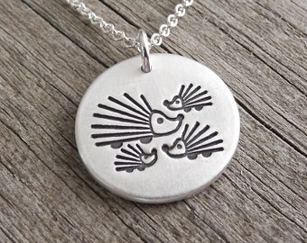 Mother and Three Baby Hedgehogs Necklace, Mom and Three Kids, Three Children Jewelry, Fine Silver, Sterling Silver Chain, Ready To Ship