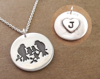 Personalized Bird Family Necklace, Mom, Dad, Three Babies, Small Heart Monogram, Initials, Fine Silver, Sterling Silver Chain, Made To Order