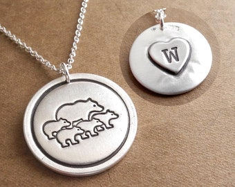 Personalized Mother Bear and Four Cubs Necklace, Four Children Kids, Heart Monogram, Fine Silver, Sterling Silver Chain, Made To Order