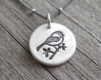 Tiny Chickadee Necklace, Little Bird Charm, Silver Chickadee, Fine Silver, Sterling Silver Chain, Made To Order
