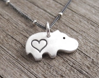 Tiny Heart Hippo Necklace, Baby Hippo Love, Tiny Hippo Charm, Hippo Pendant, Fine Silver, Sterling Silver Chain, Made To Order