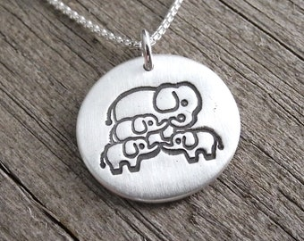 Mother Elephant with Three Babies Necklace, Mom and Three Kids, Three Children Jewelry, Fine Silver, Sterling Silver Chain, Made To Order