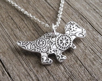 Little T-Rex Necklace, Flowered Baby T-Rex , Dinosaur Necklace, Fine Silver, Sterling Silver Chain, Made To Order