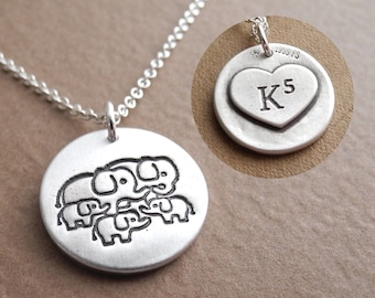 Personalized Elephant Family Necklace, Family of Five, Monogram, Initials, Fine Silver, Sterling Silver Chain, Made To Order