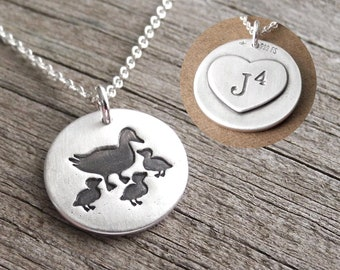 Personalized Mother and Three Baby Ducks Necklace, Ducklings, Heart Monogram, Initial, Fine Silver, Sterling Silver Chain, Made To Order