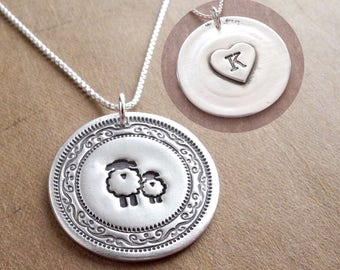 Personalized Mother and Baby Sheep Necklace, Ewe, Lamb, Heart Monogram, New Mom Jewelry, Fine Silver, Sterling Silver Chain, Made To Order