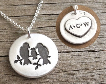 Personalized Bird Family of Three Necklace, Mom, Dad, Baby, New Mom, Heart Monogram, Fine Silver, Sterling Silver Chain, Made To Order