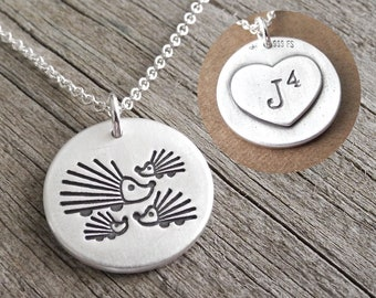 Personalized Mother and Three Baby Hedgehogs Necklace, Mom and Kids, Monogram, Initials, Fine Silver, Sterling Silver Chain, Made To Order