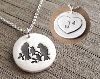 Personalized Bird Family of Four Necklace, Mom, Dad, Two Babies, New Mom, Heart Monogram, Fine Silver, Sterling Silver Chain, Made To Order