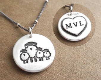 Personalized Mother Sheep and Three Lambs Necklace, Family of Four, Lambs, Heart Monogram, Fine Silver, Sterling Silver Chain, Made To Order