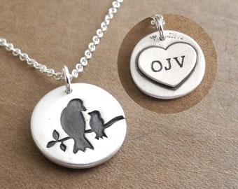 Bird Necklace, Personalized Mother and Baby Bird, Small, New Mom Necklace, Bird Monogram, Fine Silver, Sterling Silver Chain, Made To Order