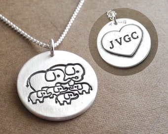 Personalized Elephant Family of Six Necklace, Mom, Dad, Four Babies, Heart Monogram, Fine Silver, Sterling Silver Chain, Made To Order