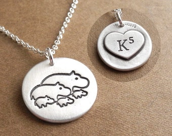 Personalized Hippo Family Necklace, Family of Five, Engraved Heart, Monogram, Initials, Fine Silver, Sterling Silver Chain, Made To Order