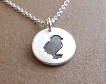 Tiny Chick Necklace, Little Chick Charm, Baby Chicken, Fine Silver, Sterling Silver Chain, Ready To Ship