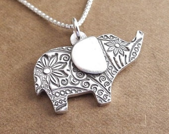 Flowered Elephant Necklace, Good Luck Elephant, Fine Silver, Sterling Silver Chain, Made To Order