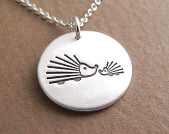 Mother and Baby Hedgehog Necklace, Mom and Baby, New Mom Jewelry, Fine Silver, Sterling Silver Chain, Ready To Ship