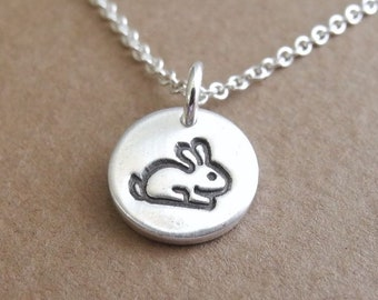 Teeny Tiny Baby Rabbit Necklace, Tiny Bunny Necklace, Fine Silver, Sterling Silver Chain, Made To Order
