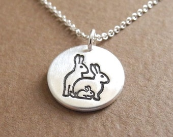 Small Rabbit Family Necklace, Mom, Dad, Baby, Two Moms, Two Dads, New Family Pendant, Fine Silver, Sterling Silver Chain, Ready To Ship