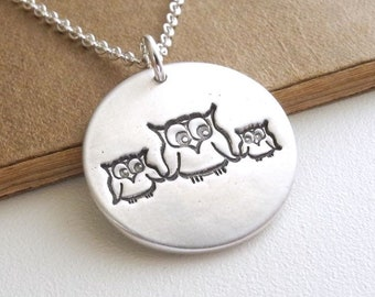 Mother Owl with Two Babies Necklace, Mom and Two Kids, Two Children Jewelry, Fine Silver, Sterling Silver Chain, Made To Order