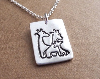 Giraffe Family Necklace, Mom, Dad, Baby, Two Moms, Two Dads, New Family Jewelry, Fine Silver, Sterling Silver Chain, Made To Order